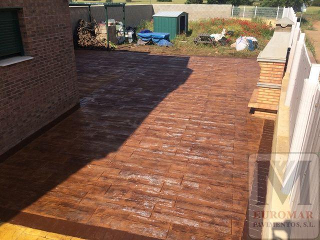 construccion de pavimentos de hormigón impreso madera para exteriores
