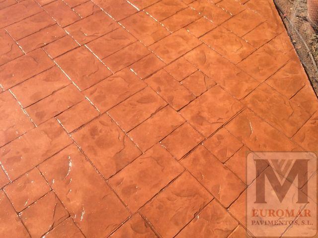 captura de pavimento de hormigón impreso efecto ladrillo Cantabria